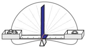 Für Gewichtsunterschiede kann unter dem Gummiband aus Pappe noch ein Zeiger befestigt werden